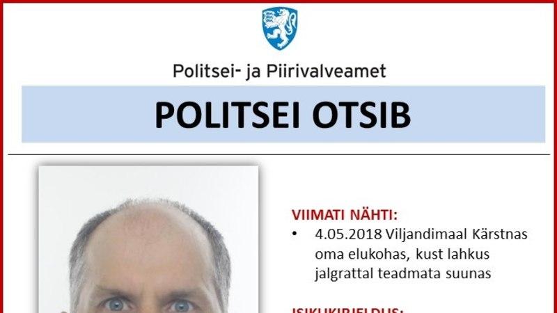 Politsei otsib Viljandimaal kadunud 46aastast meest