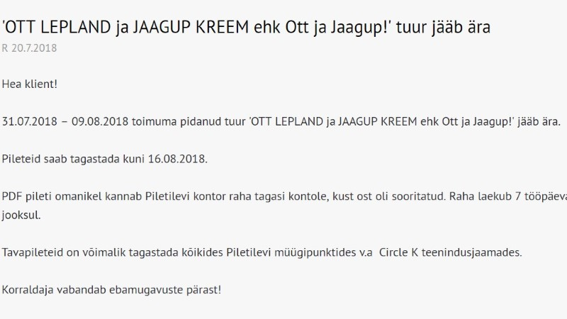 Jaagup Kreemi ja Ott Leplandi kontserttuur jääb ära: me ei saanud korraldajaga kokkuleppele