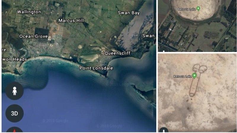 FOTO | Austraalias tekitati järve põhja peenise kujutis, mis paistis kätte isegi kosmosest