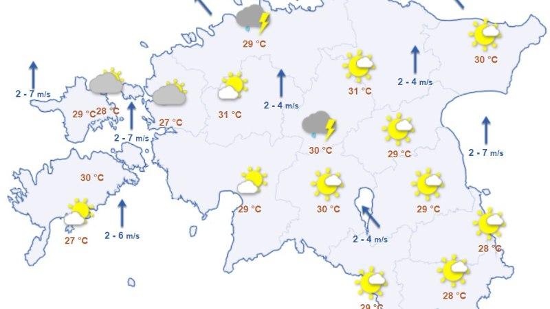 ILMAPROGNOOS: kuumus muutub raskesti talutavaks, ent annab nädala lõpus järele