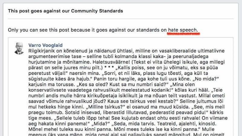 VIHAKÕNESÜÜDISTUS: Facebook pani Varro Vooglaiu konto 30 päevaks lukku!