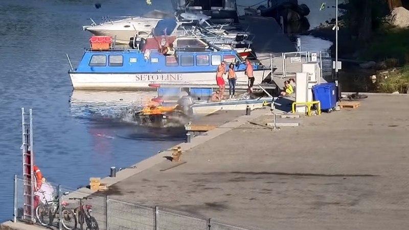 Шокируюшие кадры видео: в Тарту взорвался гидроцикл, на котором сидел человек