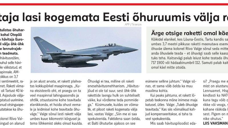 Eesti kohal läks kogemata lendu lahingrakett: idanaaber suhtub juhtunusse üsna rahulikult