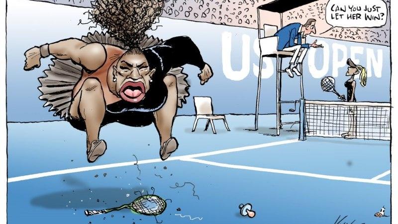 Serena Williamsist teravmeelse karikatuuri joonistanud austraallane langes rünnaku alla
