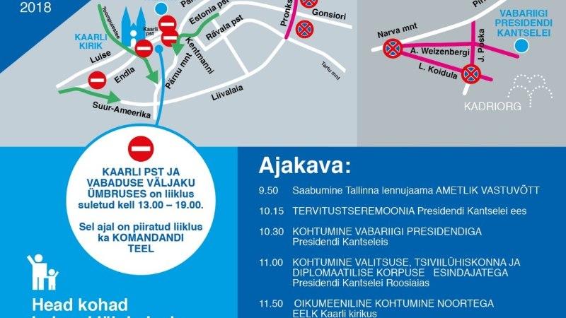 KAART   Paavsti visiit seiskab Tallinna liikluse