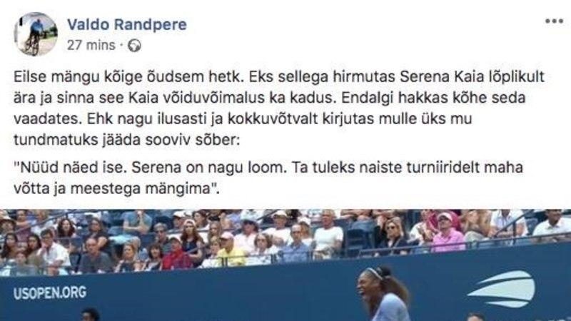 Valdo Randpere nimetas platsil karjunud Serena Williamsit loomaks