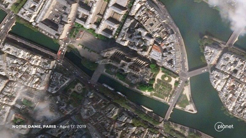 Опубликовано первое фото из космоса сгоревшего Нотр-Дама