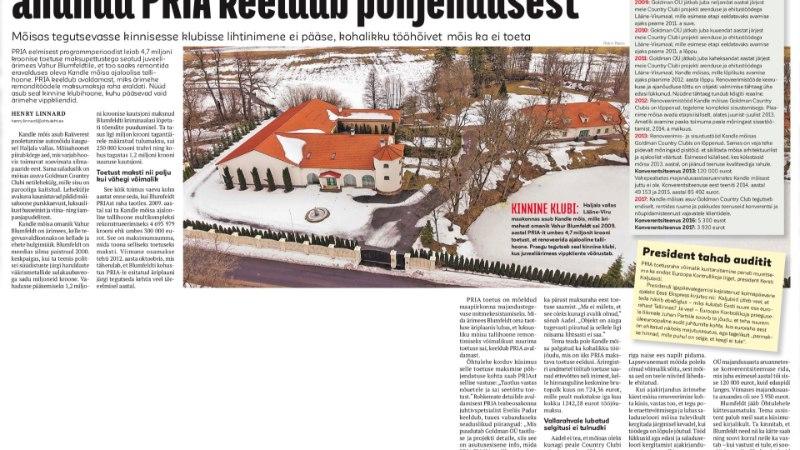 PRIA peadirektor keeldub majutusasutuste toetuse probleemist rääkimast