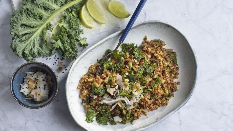 Riisipada kookose ja rohelisega, mis sobib veganile!
