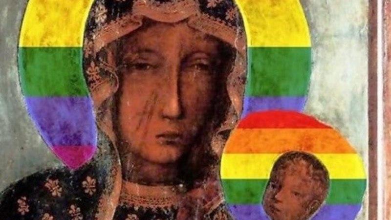 USUTUNNETE SOLVAMINE: tänavatele vikerkaarevärvilise haloga neitsi Maarja postreid riputanud naine arreteeriti